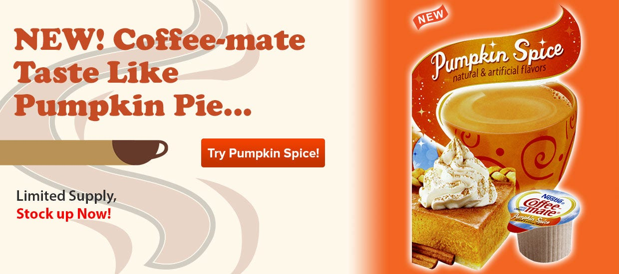 Buy Pumpkin Spice Coffee-mate Coffee Creamer, Thanksgiving Seasonal Holiday Flavor, 50 count box.