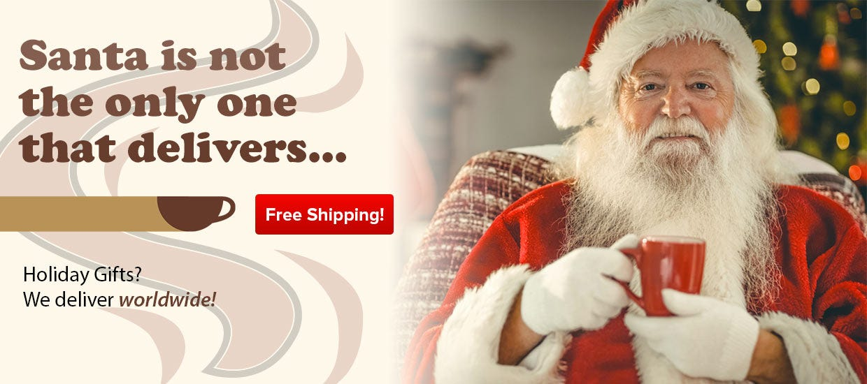 Free Shipping Holiday Coffee Gifts, Starbucks, Cafe Bustelo, Ronnoco, Wawa, Yuban, Chock, Hills, Cadillac, White Castle