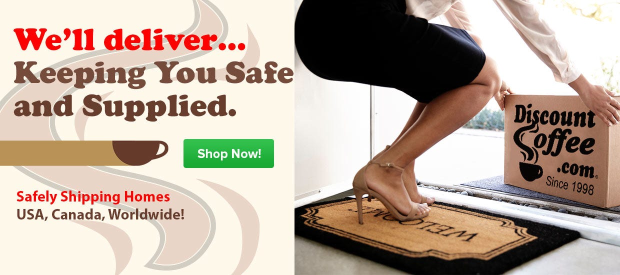 Safely Shop Coffee Online, USA, Canada, Free Shipping, UPS, FedEx, USPS Postal Delivery