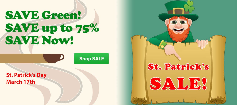 St. Patrick's Day Coffee Sale, Starbucks, Wawa, Maxwell House, Folgers K-Cup, Chock, Hills, Ronnoco, Cadillac