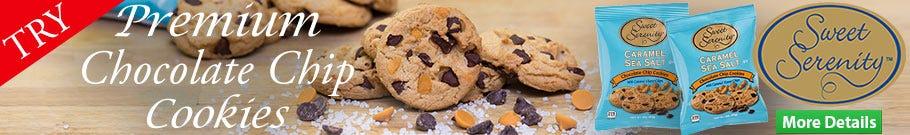 Caramel Sea Salt Chocolate Chip Cookies, Sweet Serenity Vending Snack 2 oz. / 3 oz. Bags