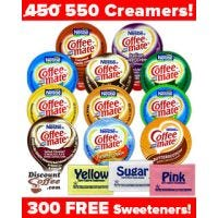 Assorted Nestle Coffee-mate non-dairy, liquid creamer variety pack – 11 Flavors, 300 Free Sweeteners.
