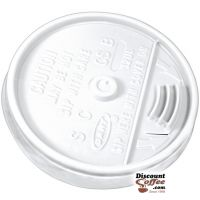 Dart 12UL 12 oz. White Plastic Sip Thru Lids | 10 Individually Wrapped 100 ct. Sleeves, 1,000 ct. Case Made in U.S.A.