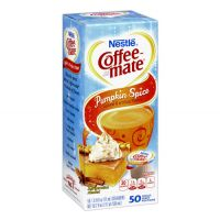 Pumpkin Spice Nestle Coffee-mate seasonal, non-dairy creamer 50 count boxes for the holidays.