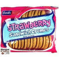 Strawberry Sandwich Cremes Cookies 5 oz. | Biscomerica Basil's Bavarian Bakery Vending Snack Cookies, Kosher, 24 ct. Case.