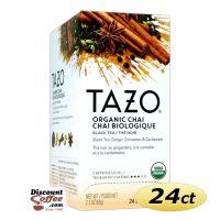 Tazo Chai Tea 24 ct. Box | Organic Black Tea, Spicy Cinnamon, Ginger, Cardamom, Clove, Star Anise Flavored Hot Tea Bags.