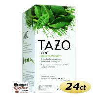 Tazo Zen Tea 24 ct. Box | Green Tea, Lemon Verbena Leaves, Lemongrass, Spearmint Leaves Flavored Hot Tea Bags.