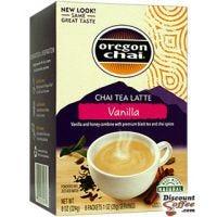 Oregon Chai Vanilla Chai Tea Latte Packets, Single Serve   Spiced Chai, Honey, Black Tea