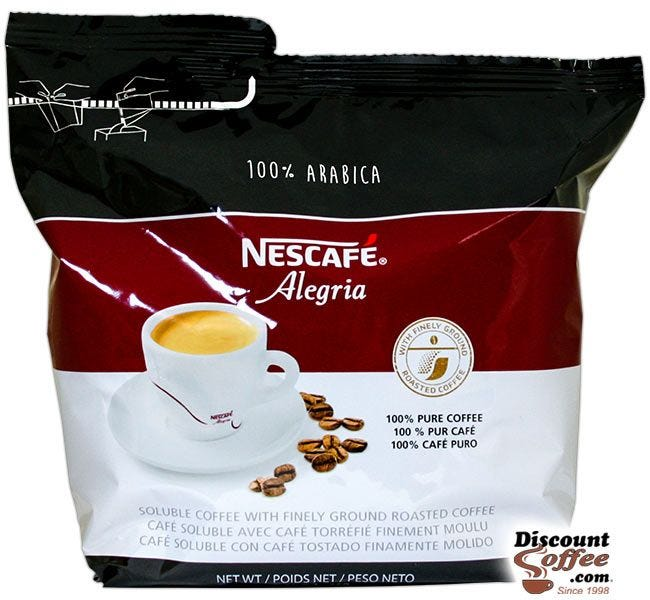 100% Arabica Alegria Nescafe Coffee 8.81 oz. Bag | Freeze Dried Soluble Instant Coffee, Hot Vending Beverages.