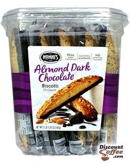 Nonni's Biscotti Cookie Jar, Resealable Plastic Tub | Wrapped Almond Dark Chocolate Flavored Snacks