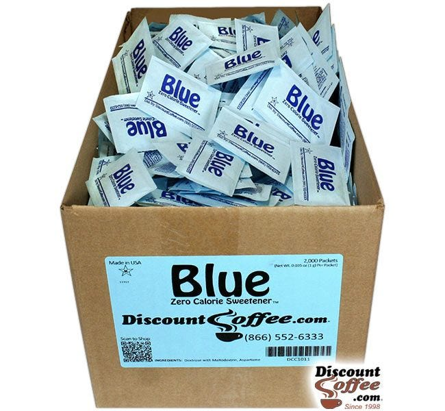 Artificial Sweetener Blue Packets Bulk Case | Compare Equal Brand, Save! 2,000 ct. Case, 500 ct. Bag, 100 ct. Bags.