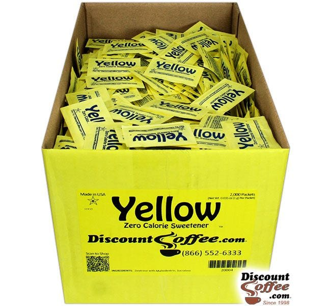 Artificial Sweetener Yellow Packets Bulk Case | Compare Splenda Brand, Save! 2,000 ct. Case, 500 ct. Bag, 100 ct. Bags.