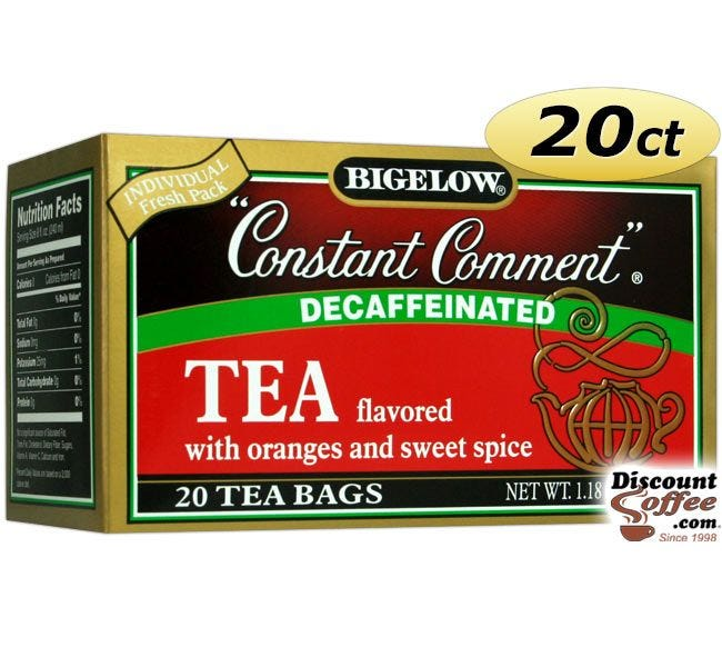 Bigelow Decaf Constant Comment Tea 20 ct. Box | Decaffeinated, Rind of Oranges, Sweet Spice Hot Tea, Kosher