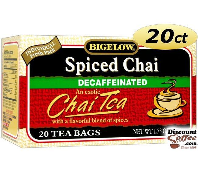 Bigelow Spiced Chai Decaf Chai Tea 20 ct. Box   Decaffeinated Black Tea, Gluten Free, Kosher