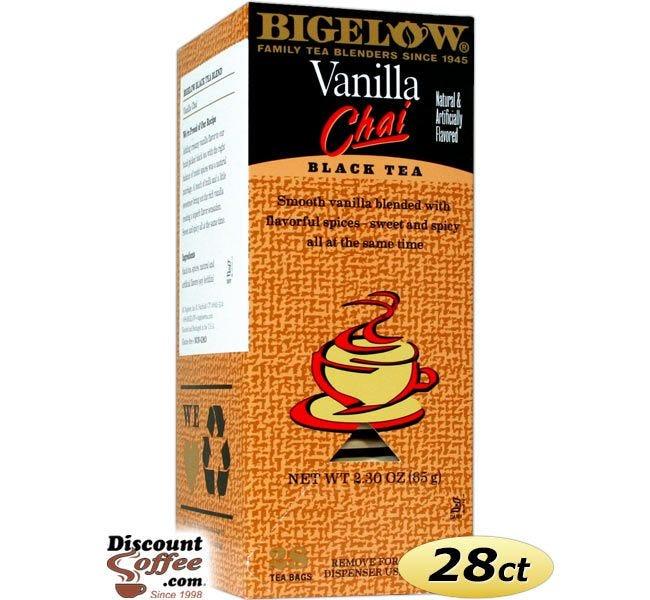 Bigelow Vanilla Chai Black Tea Bags   28 ct. Box, Gluten Free, Sweet, Spices, Creamy, Flavor, Blend