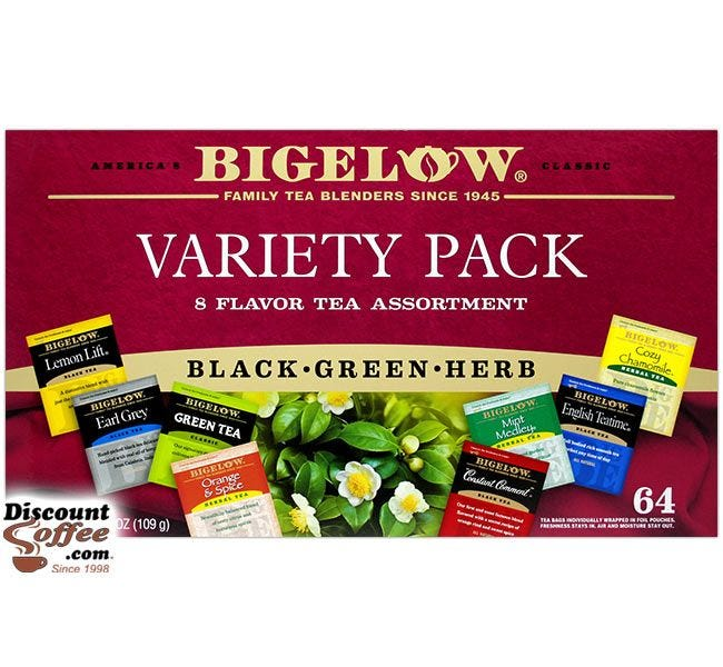 Bigelow Variety Pack, Black, Green, Herb Tea Assortment | Chamomile, Lemon, Orange, Mint, Constant Comment, Earl Grey, English Teatime.