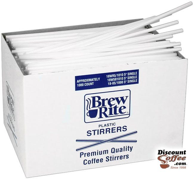 Brew Rite Plastic Coffee Stirrers 1,000 ct. Box | 5 inch White Stir Straws for Bars, Restaurants, Cafes, Office Coffee Breakroom Kitchens.