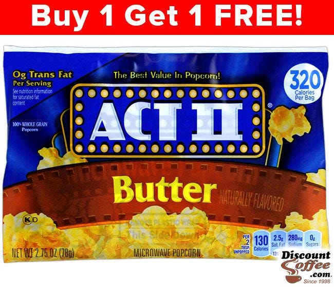 Butter Act II Microwave Popcorn Bags | Gluten Free, 100% Whole Grain, 0g Trans Fat, 130 Calories, 36 ct. Case.