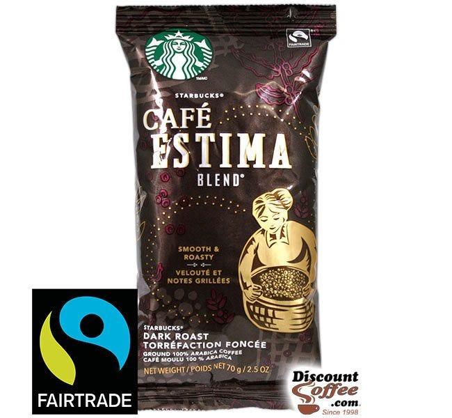 Cafe Estima Blend Starbucks Ground Coffee | Smooth, Roasty Flavor, Dark Roast 2.5 oz. Bags, 18 ct. Box.