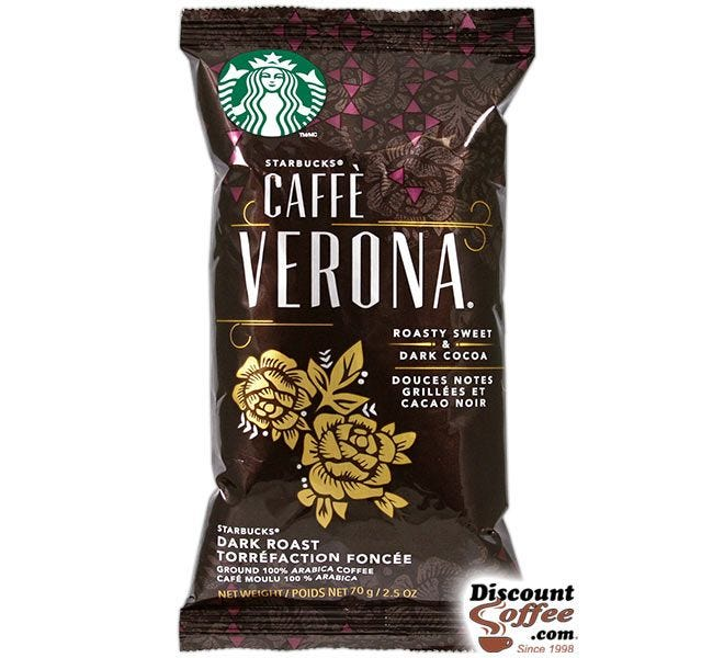 Caffe Verona Starbucks Ground Coffee | Roasty Sweet, Dark Cocoa Flavor, Dark Roast 2.5 oz. Bags, 18 ct. Box.