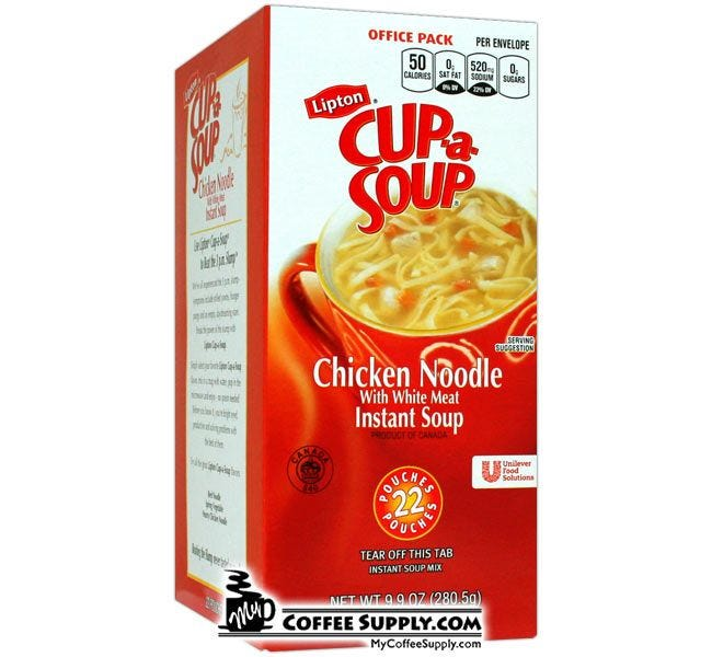 Chicken Noodle Cup-a-Soup Mix lunch snack, Low Fat, Low Calorie Meal Option.