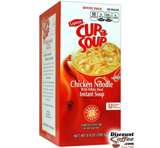 Chicken Noodle Lipton Cup A Soup Mix | Low Fat, Low Calorie Lunch Meal, Snack.