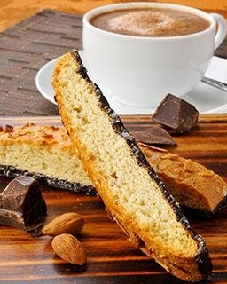Chocolate Desert Biscotti Cookies | Nonni's Almond Flavored Biscotti Snacks, Coffee Cup | Italian Family Recipe