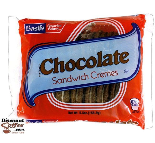 Chocolate Sandwich Cremes Cookies 5 oz. | Biscomerica Basil's Bavarian Bakery Vending Snack Cookies, Kosher, 24 ct. Case.