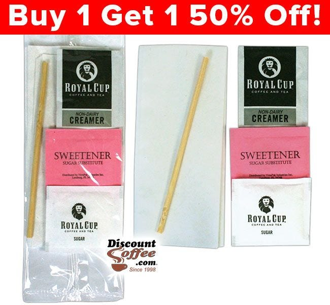 Clear Wrapped Condiment Packets, Napkin, Sugar Packet, Pink Artificial Sweetener, Royal Cup Coffee Creamer, Wood Stir Stick