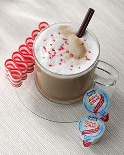 Peppermint Mocha Coffee-mate Creamer tastes like a Chocolate Dipped Peppermint Candy Cane.