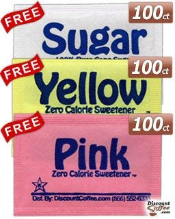 Free artificial sweetener packets. Compare Splenda Sucralose, Sweet n'Low Saccharin. Pure Cane Granulated Sugar.