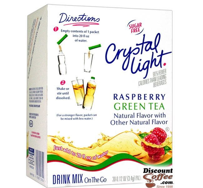 Crystal Light On the Go Raspberry Green Tea Drink Mix | Bottled Water