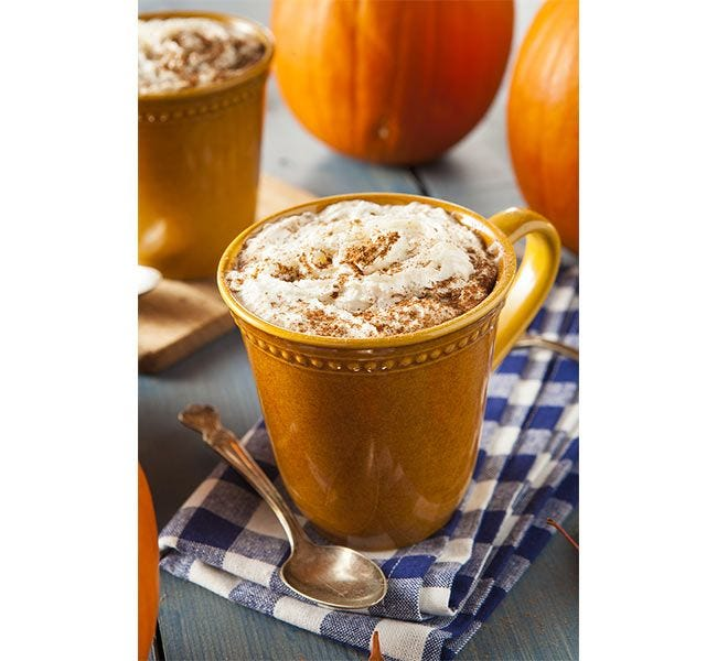 Cup of Pumpkin Spice Flavored Gourmet Coffee. #1 Seasonal Holiday Creamer Flavor for Thanksgiving.