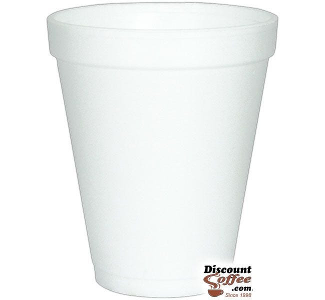 Dart 10J10 10 oz. Styrofoam Coffee Cups   White Cold or Hot Insulated Cups, 1,000 ct. Case, Made in U.S.A.