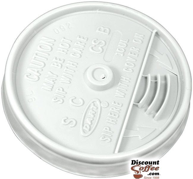 Dart 10UL 10 oz. White Plastic Sip Thru Lids | 10 Individually Wrapped 100 ct. Sleeves, 1,000 ct. Case Made in U.S.A.