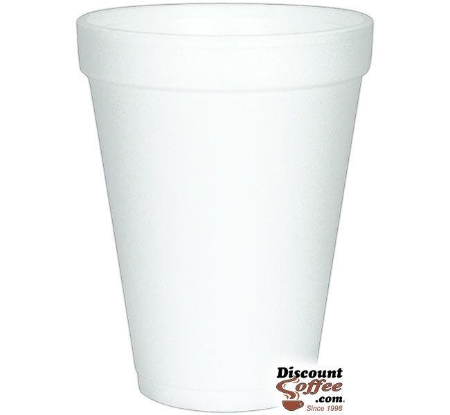 Dart 12J12 12 oz. Styrofoam Coffee Cups | 1,000 ct. Case, White Cold or Hot Insulated Cups Made in U.S.A.