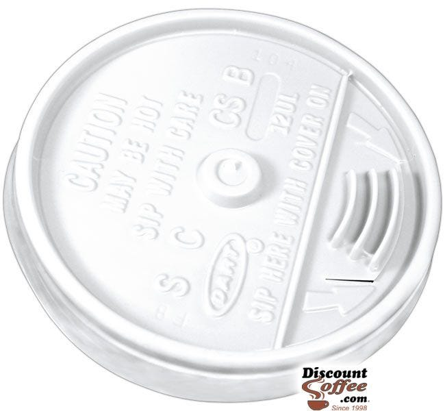 Dart 12UL 12 oz. White Plastic Sip Thru Lids   10 Individually Wrapped 100 ct. Sleeves, 1,000 ct. Case Made in U.S.A.