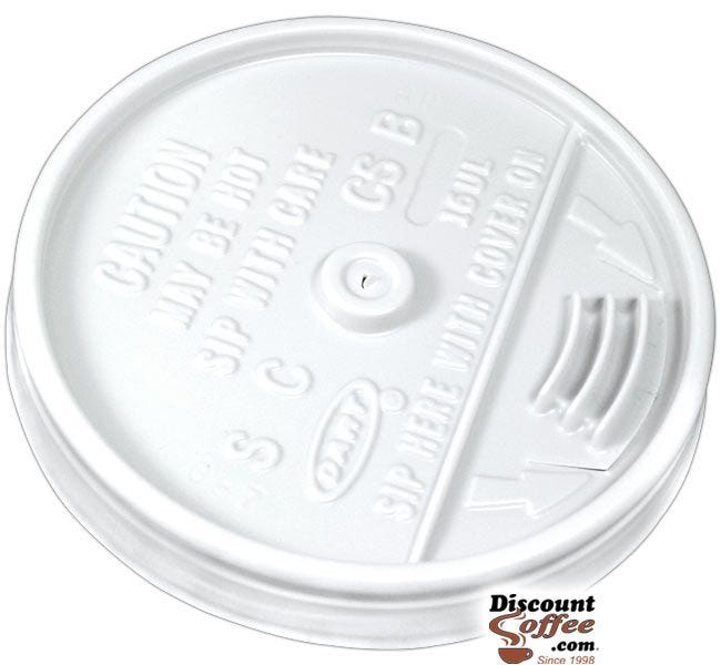 Dart 16UL 16 oz. 20 oz. White Plastic Sip Thru Lids   10 Individually Wrapped 100 ct. Sleeves, 1,000 ct. Case Made in U.S.A.