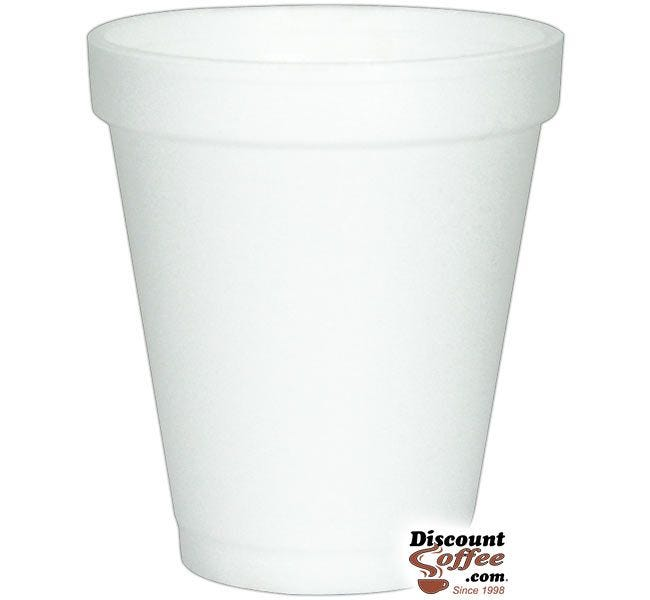 Dart 6J6 6 oz. Styrofoam Coffee Cups | White Cold or Hot Insulated Cups, 1,000 ct. Case, Made in U.S.A.
