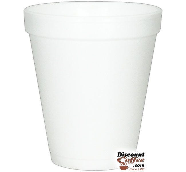 Dart 8J8 8 oz. Styrofoam Coffee Cups   1,000 ct. Case, White Cold or Hot Insulated Cups Made in U.S.A.