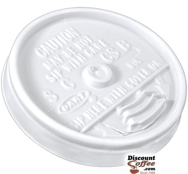 Dart 8UL 8 oz. White Plastic Sip Thru Lids   10 Individually Wrapped 100 ct. Sleeves, 1,000 ct. Case Made in U.S.A.