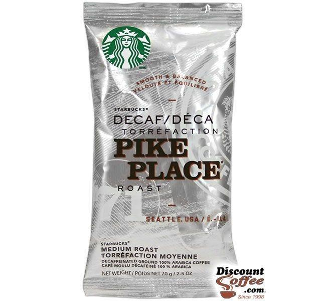 Decaf Pike Place Roast Starbucks Ground Coffee | Decaffeinated Cocoa, Toasted Nut Flavor, Medium Roast 2.5 oz. Bags, 18 ct. Box.