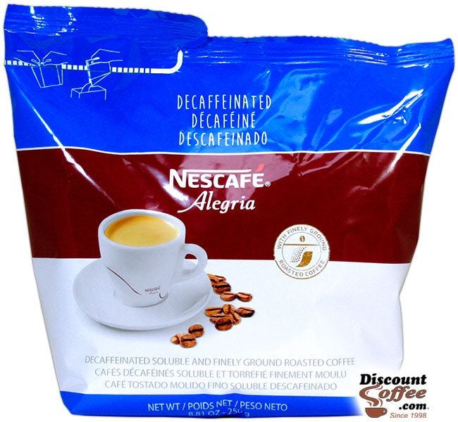 Decaffeinated Alegria Nescafe Coffee 8.81 oz. Bag | Decaf Freeze Dried Soluble Instant Coffee, Hot Vending Beverages.