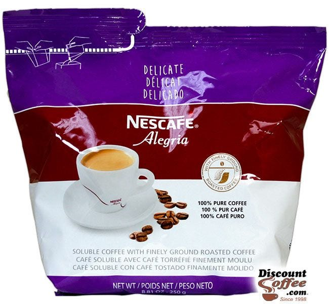 Delicate Alegria Nescafe Coffee 8.81 oz. Bag | Freeze Dried Soluble Instant Coffee, Hot Vending Beverages.