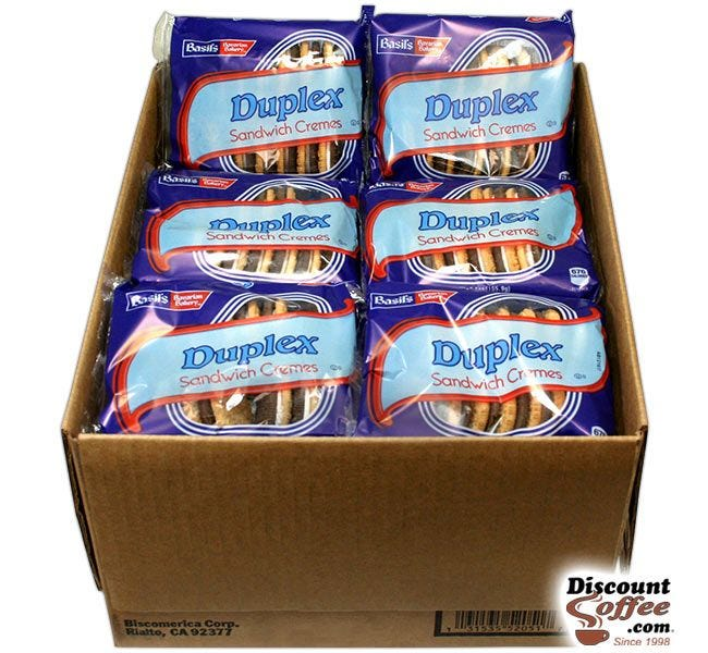 Duplex Sandwich Cremes 24 ct. Case   5 oz. Snack Size Bags, Basil's Bavarian Bakery Bulk Vending Machine Cookies.