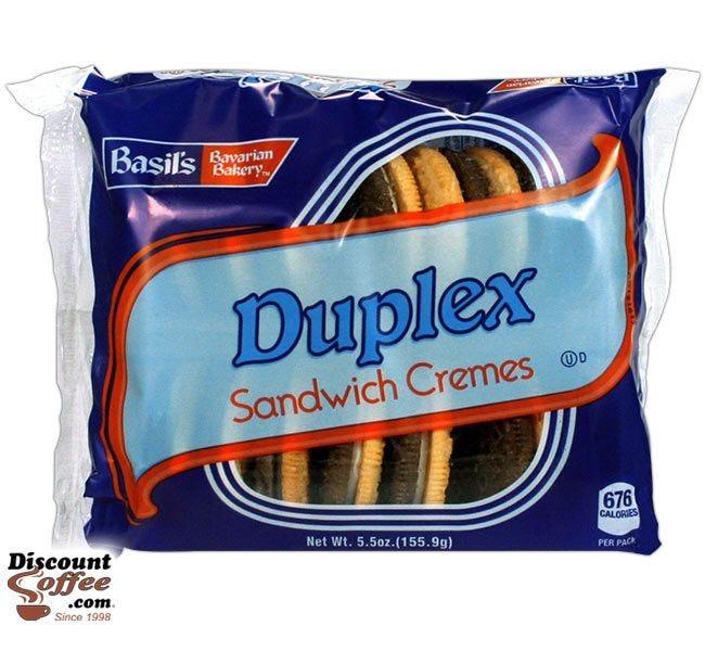 Duplex Sandwich Cremes Cookies 5 oz.   Biscomerica Basil's Bavarian Bakery Vending Snack Cookies, Kosher, 24 ct. Case.