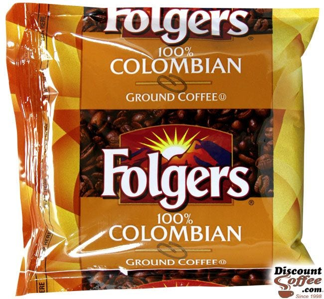 Folgers 100% Colombian Coffee 1.75 oz. Packs | Medium Roast Colombia Single Origin Ground Coffee