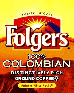 Folgers Coffee, Colombian Filter Packs | Medium Roast Ground Coffee 40 count case, 1.40 oz.