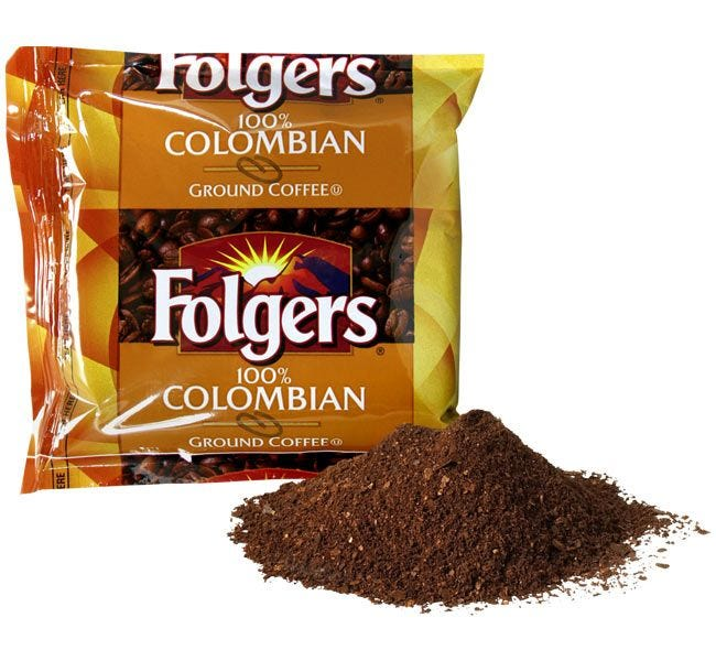 Folgers Ground Colombian Coffee Fraction Pack | Medium Roast 1.75 oz. Packet Brews 12 Cup Pot. 42 count Case.