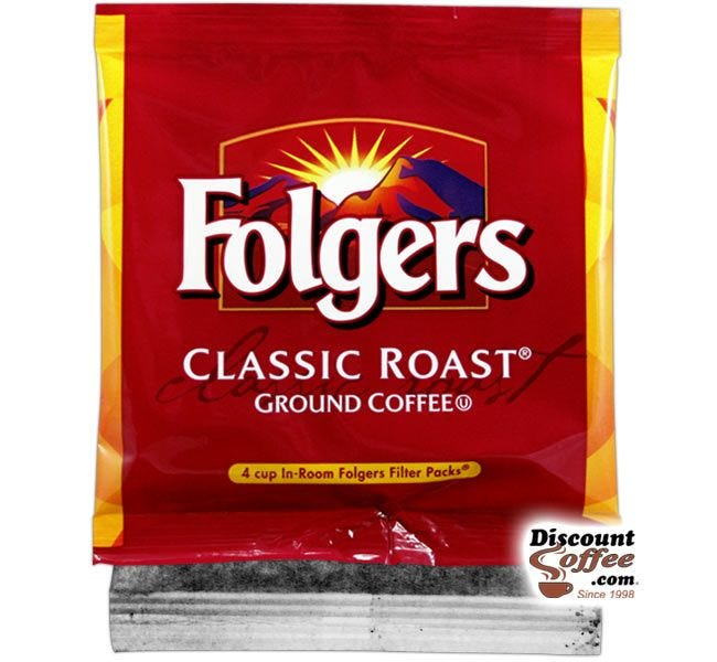 Folgers In-Room 4 Cup Classic Roast Coffee | .6 oz. Filter Pack Ground Coffee, 200 count Case.